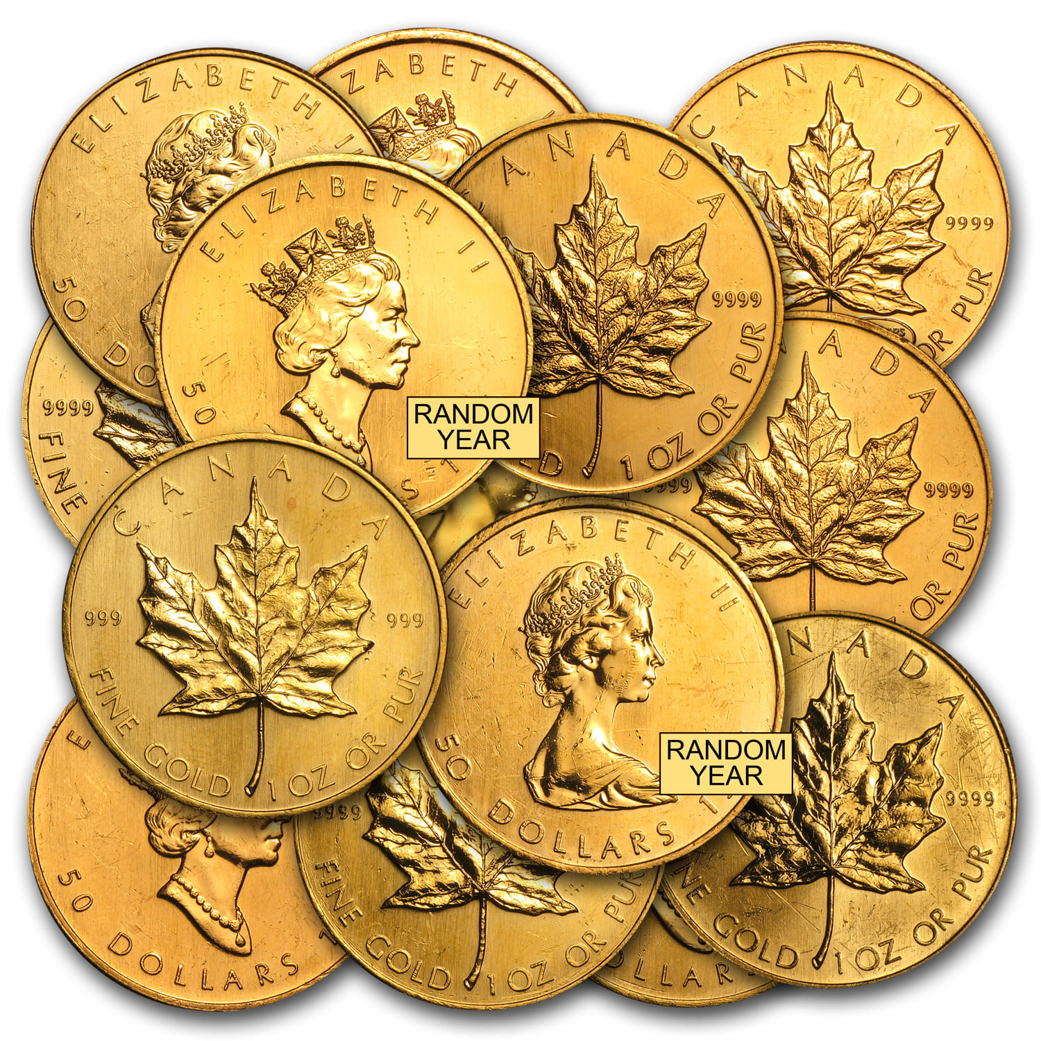 1 oz Gold Canadian Maple Leaf (Abrasions)